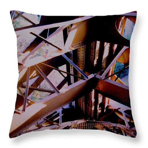 Eiffel Throw Pillow featuring the photograph Inside Eiffel by Ian MacDonald