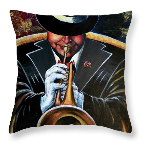 Jazz Throw Pillow featuring the painting Inside My Music Iv by Arthur Covington