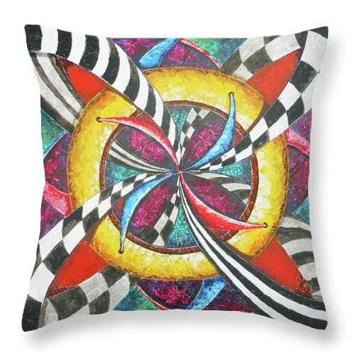 Abstract Throw Pillow featuring the painting Inside Out by Bobby Jones