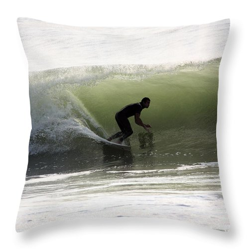 Waves Throw Pillow featuring the photograph Inside The Wave by Mary Haber