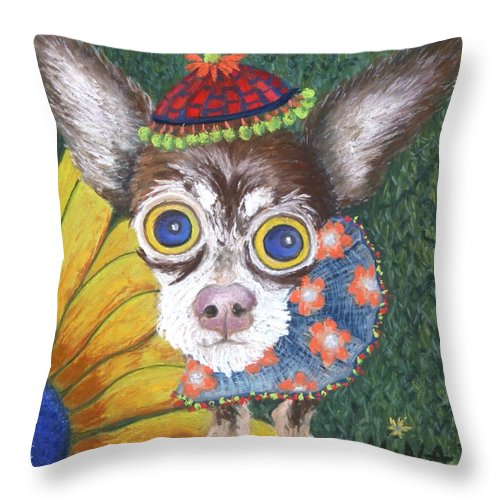 Chihauhau Throw Pillow featuring the painting Inside Van Gogh Gardens Sits Sunflower Sally by Minaz Jantz