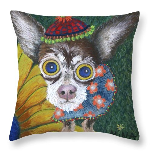 Chihuahua Throw Pillow featuring the painting Inside Van Gogh's Garden Sits Sunflower Sally by Minaz Jantz