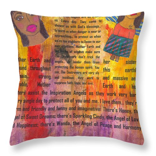 Angels Throw Pillow featuring the mixed media Inspiration Angels II by Angela L Walker