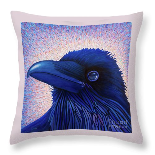 Raven Throw Pillow featuring the painting Inspiration by Brian Commerford
