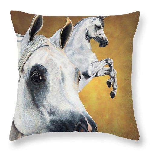 Horse Throw Pillow featuring the drawing Inspiration by Kristen Wesch