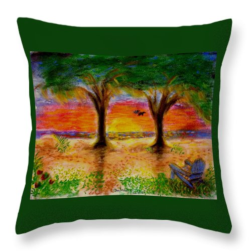 Landscape Throw Pillow featuring the pastel Inspiration On Jekyll Island by Andrew Pierce