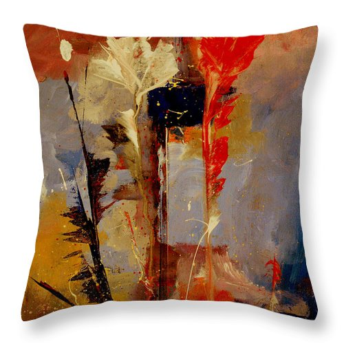 Abstract Botanical Floral Flowers Color Red Pink Blue White Yellow Orange Purple Throw Pillow featuring the painting Inspire Me by Ruth Palmer