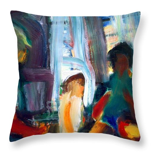 Dornberg Throw Pillow featuring the painting Instructing A Child by Bob Dornberg