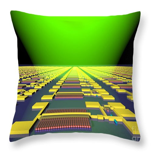 Science Throw Pillow featuring the photograph Integrated Nanowire Sensor Circuitry by Science Source