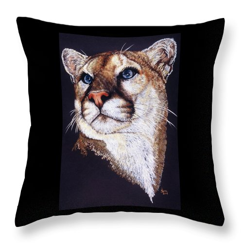 Cougar Throw Pillow featuring the drawing Intense by Barbara Keith