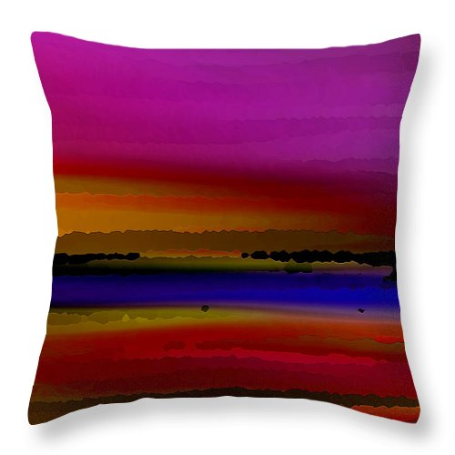 Abstract Throw Pillow featuring the digital art Intensely Hued by Ruth Palmer