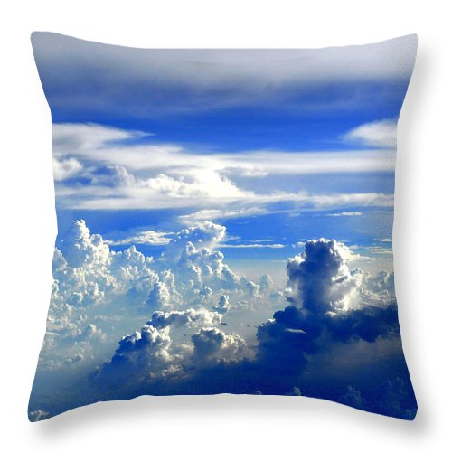 Clouds Throw Pillow featuring the photograph Interacting Clouds by Bliss Of Art