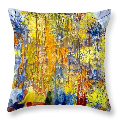 Abstract Throw Pillow featuring the painting Intercessory Prayers by Ruth Palmer