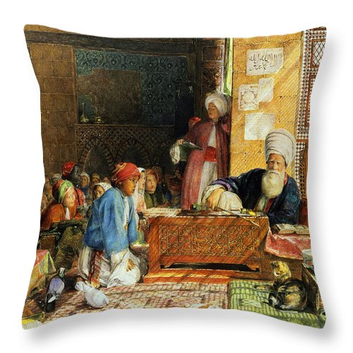 Orientalist; Dove; Classroom; Arab; Imam; Teacher; Pupil; Classroom; Student; Lattice Screen; Cat; Education Throw Pillow featuring the painting Interior Of A School - Cairo by John Frederick Lewis