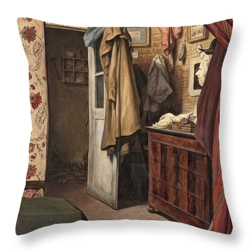 Alexandre-marie Colin Throw Pillow featuring the drawing Interior Of The Artist's Studio by Alexandre-Marie Colin