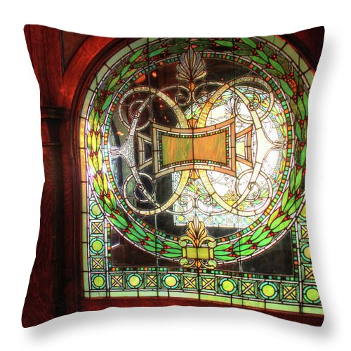 Architecture Throw Pillow featuring the photograph Interior Window At The Pleasant House In Oak Park, Il by Ann Higgens