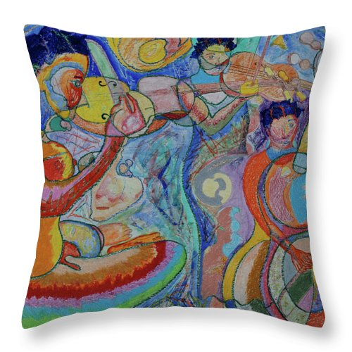 Music Throw Pillow featuring the painting Interlude 2 by John Powell