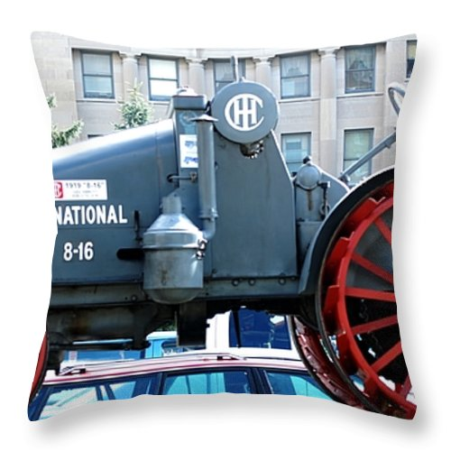 Tractor Throw Pillow featuring the digital art International 8-16 by David Lane