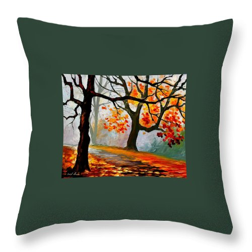 Landscape Throw Pillow featuring the painting Interplacement by Leonid Afremov
