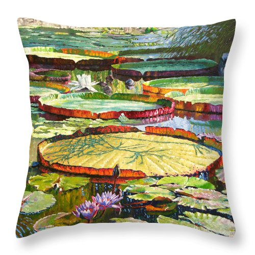 Garden Pond Throw Pillow featuring the painting Interwoven Beauty by John Lautermilch
