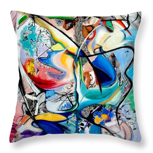 Abstract Throw Pillow featuring the painting Intimate Glimpses - Journey Of Life by Kerryn Madsen-Pietsch
