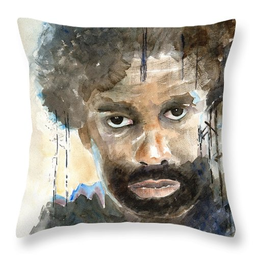 Portrait Throw Pillow featuring the painting Intimidation by Arline Wagner
