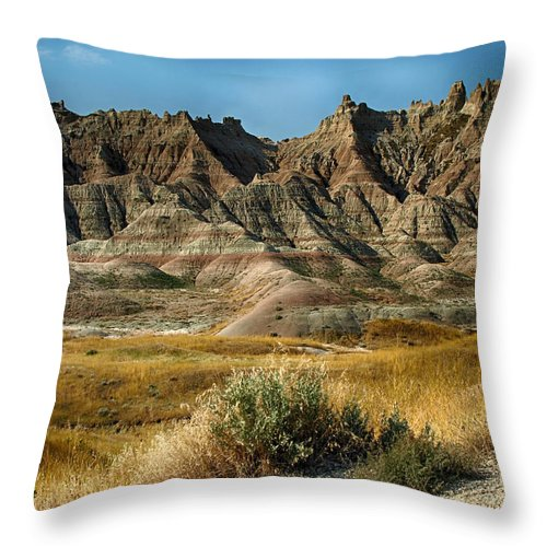 Ann Keisling Throw Pillow featuring the photograph Into The Badlands South Dakota by Ann Keisling