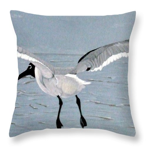 Gull Throw Pillow featuring the drawing Into The Blue by Anita Putman