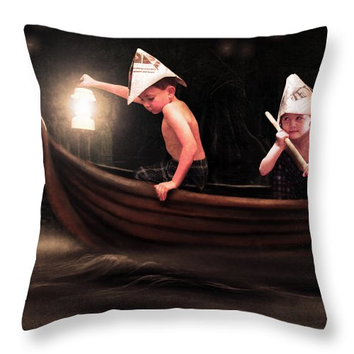 Boys Throw Pillow featuring the photograph Into The Bog by Jeremy Martinson