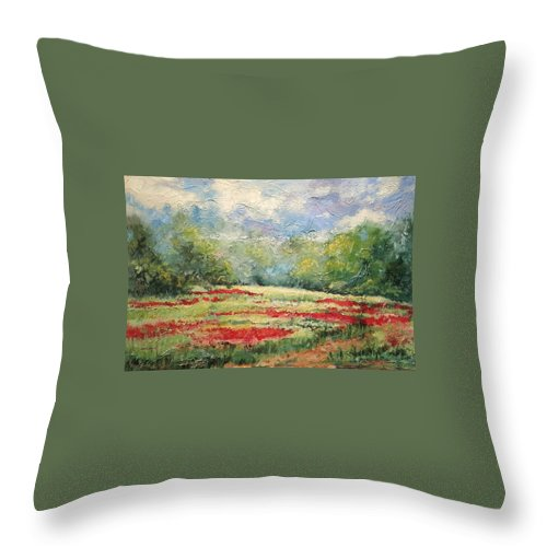 Clover Pastures Throw Pillow featuring the painting Into the Clover by Ginger Concepcion