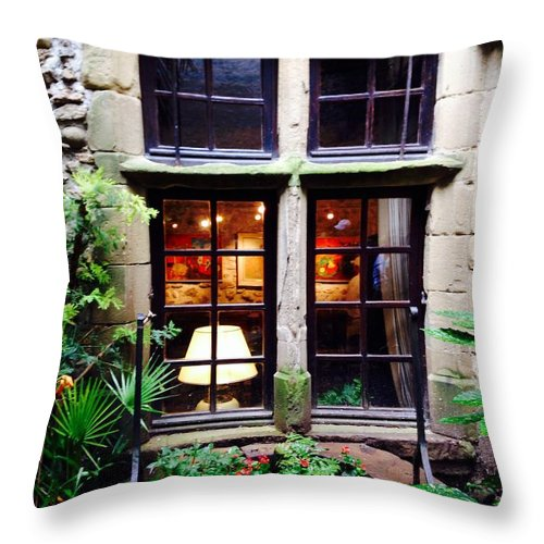 Art Gallery Window Nature Green Throw Pillow featuring the photograph Into The Gallery by Sherry Canterbury Schmidt