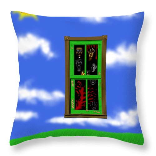 Surrealism Throw Pillow featuring the digital art Into The Green Window by Robert Morin