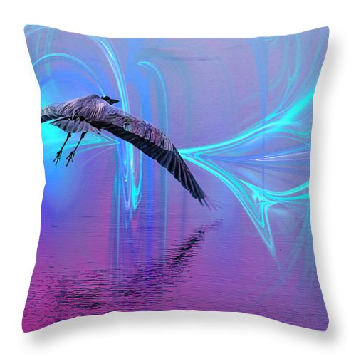 Fractal Throw Pillow featuring the painting Into The Lagoon by Roger Wedegis
