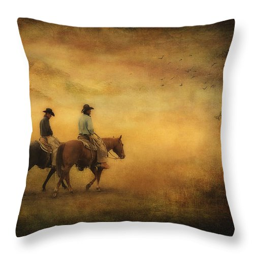 Cowboys Throw Pillow featuring the photograph Into The Mist by Priscilla Burgers