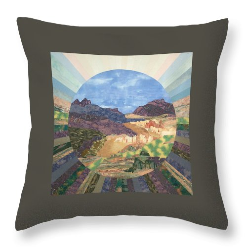 Quilt Throw Pillow featuring the tapestry - textile Into The Mystery by MtnWoman Silver