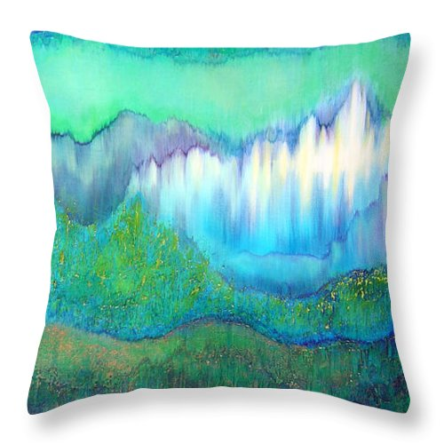 Blue Throw Pillow featuring the painting Into The Ocean by Shadia Derbyshire
