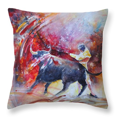 Animals Throw Pillow featuring the painting Into The Red by Miki De Goodaboom
