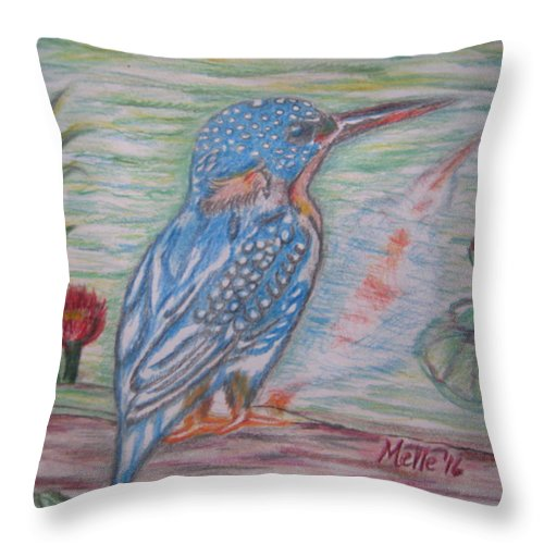 Bird Throw Pillow featuring the drawing Into The Tropics The Philippine Kingfisher by Carmela Maglasang