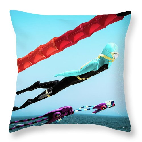 Kites Throw Pillow featuring the photograph Into The Wind - Kites by Colleen Kammerer