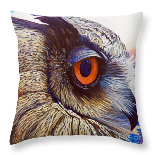 Owl Throw Pillow featuring the painting Introspection by Brian Commerford