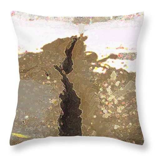 Abstract Throw Pillow featuring the digital art Intrusion by Ron Bissett