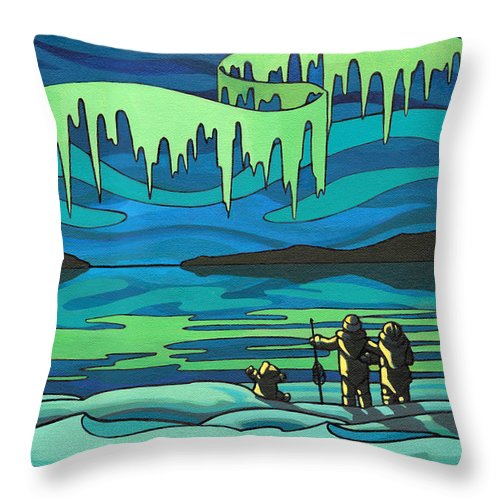 Inuit Throw Pillow featuring the painting Inuit Love Arctic Landscape Painting by Kim Hunter