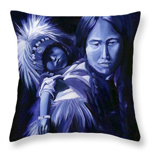 Native American Throw Pillow featuring the painting Inuit Mother And Child by Nancy Griswold