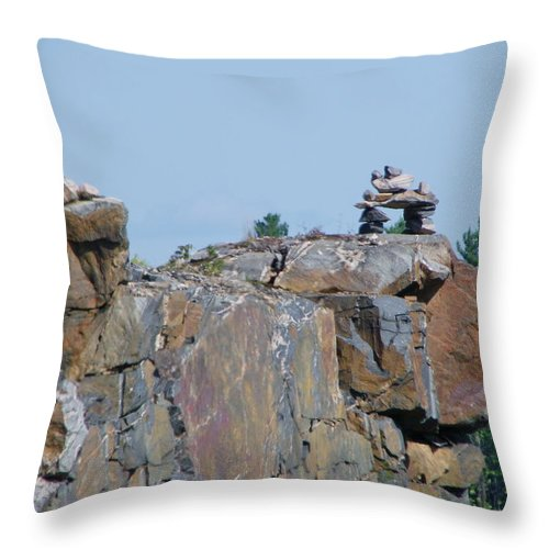 Inuit Throw Pillow featuring the photograph Inukshuk 3 by Peggy King