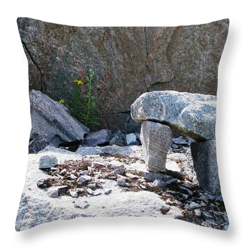Inuit Throw Pillow featuring the photograph Inukshuk 8 by Peggy King
