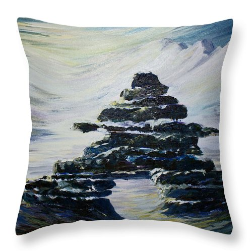 Inukshuk Northern Hemisphere Throw Pillow featuring the painting Inukshuk by Joanne Smoley