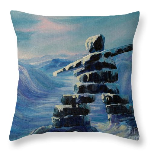 Inukshuk In Northern Canada Throw Pillow featuring the painting Inukshuk My Northern Compass by Joanne Smoley