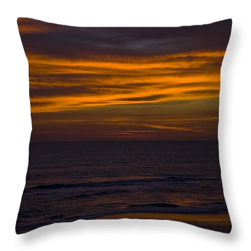 Beach Ocean Water Wave Waves Sky Cloud Clouds Sunrise Gold Golden Reflection Sand Throw Pillow featuring the photograph Invisible Presence by Andrei Shliakhau