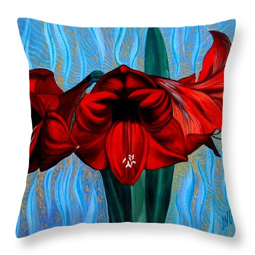 Flowers Throw Pillow featuring the painting Invitation To A Glorious You by Inga Vereshchagina