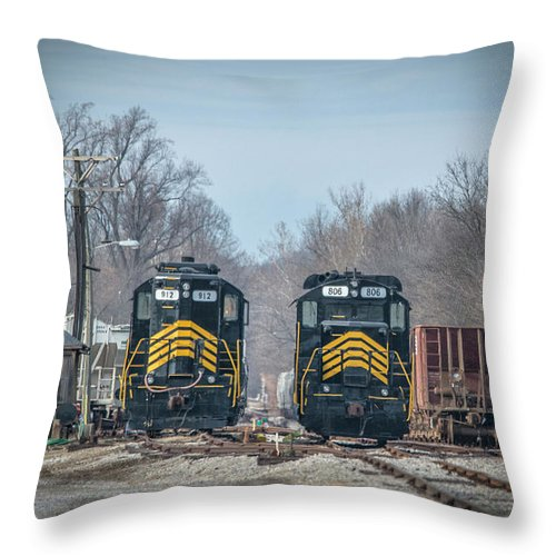 Throw Pillow featuring the photograph ioneer Lines PREX 912 and 806 at Evansville Indiana by Jim Pearson